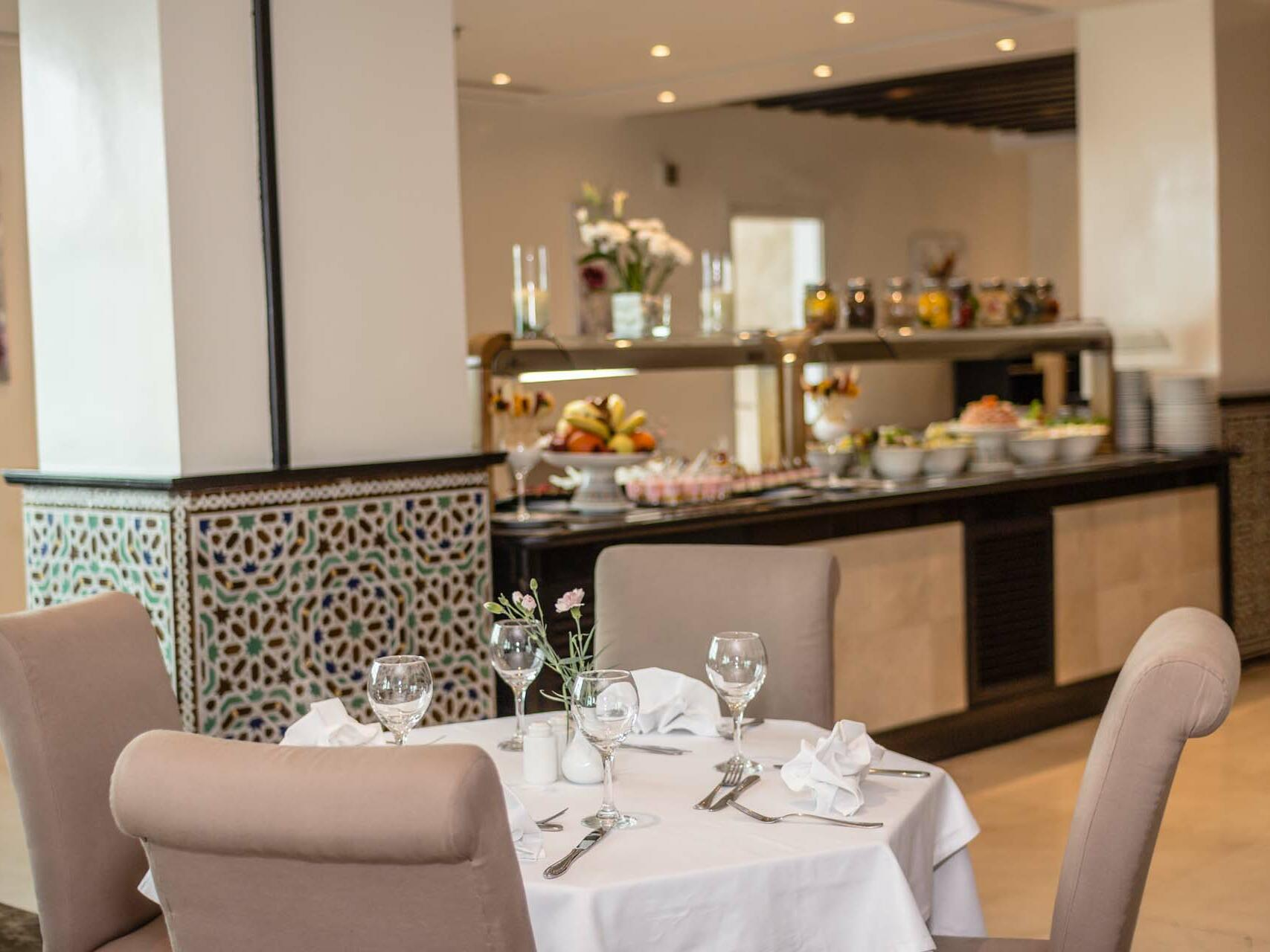 Dining Table next to the buffet - Farah Rabat Hotel