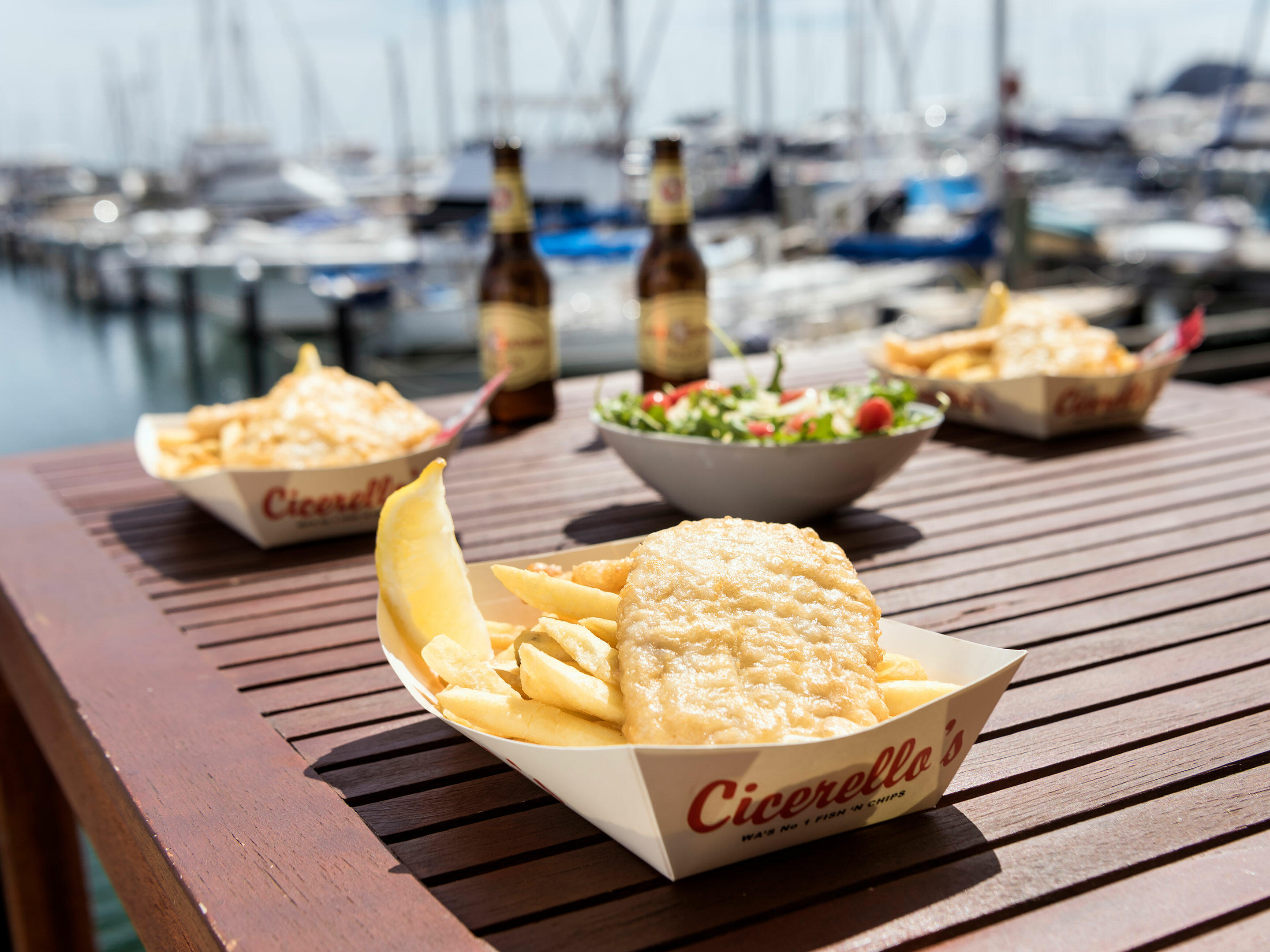 Fish and chips served at Cicerello's near Be Fremantle