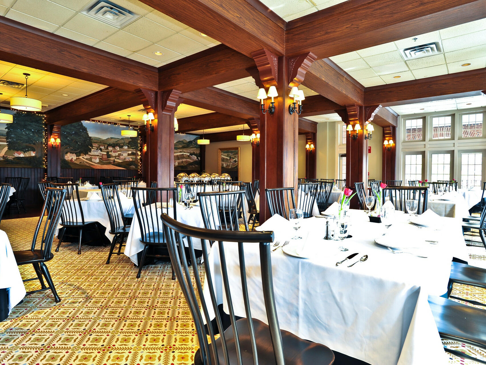 Interior view of Evergreens Main Dining Room at The Simsbury Inn