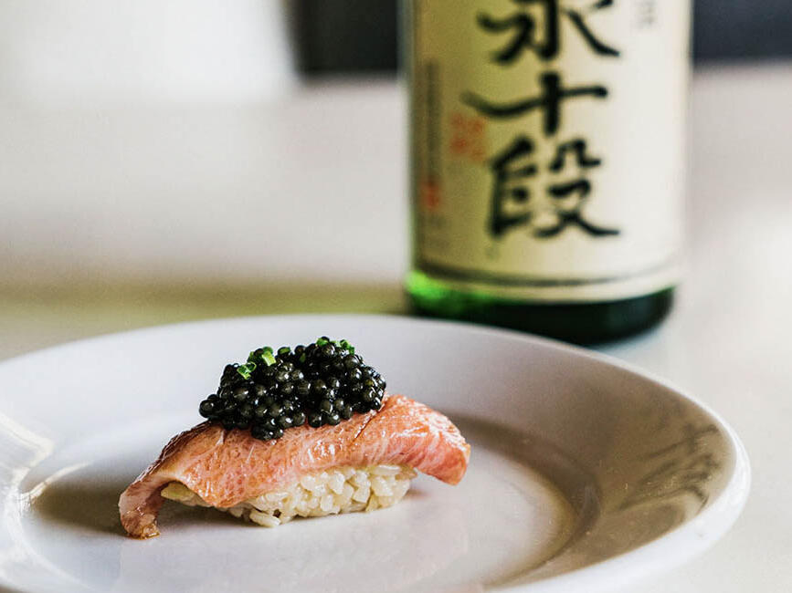 salmon and sake