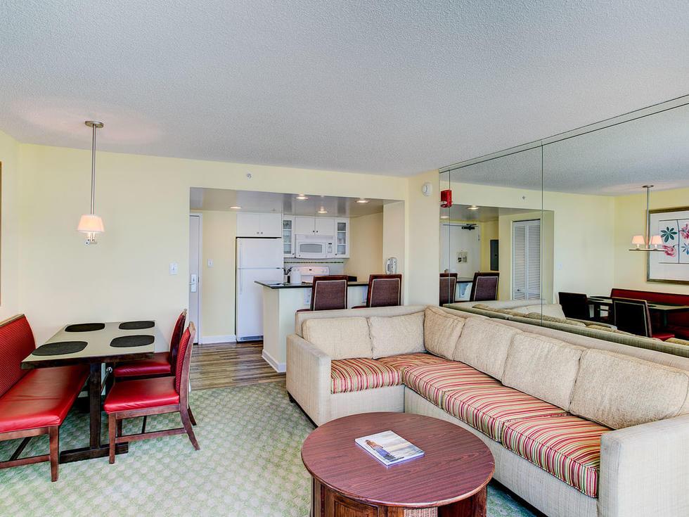 Partial ocean view one bedroom suite at Diamond Resorts Virginia Beach
