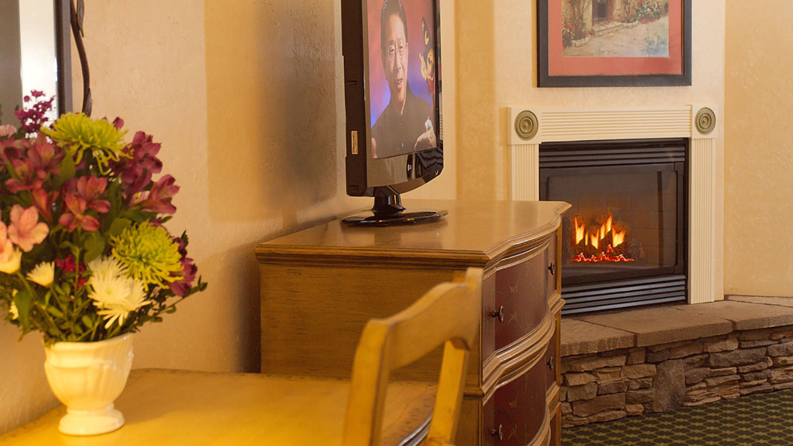 Hotel room with fireplace