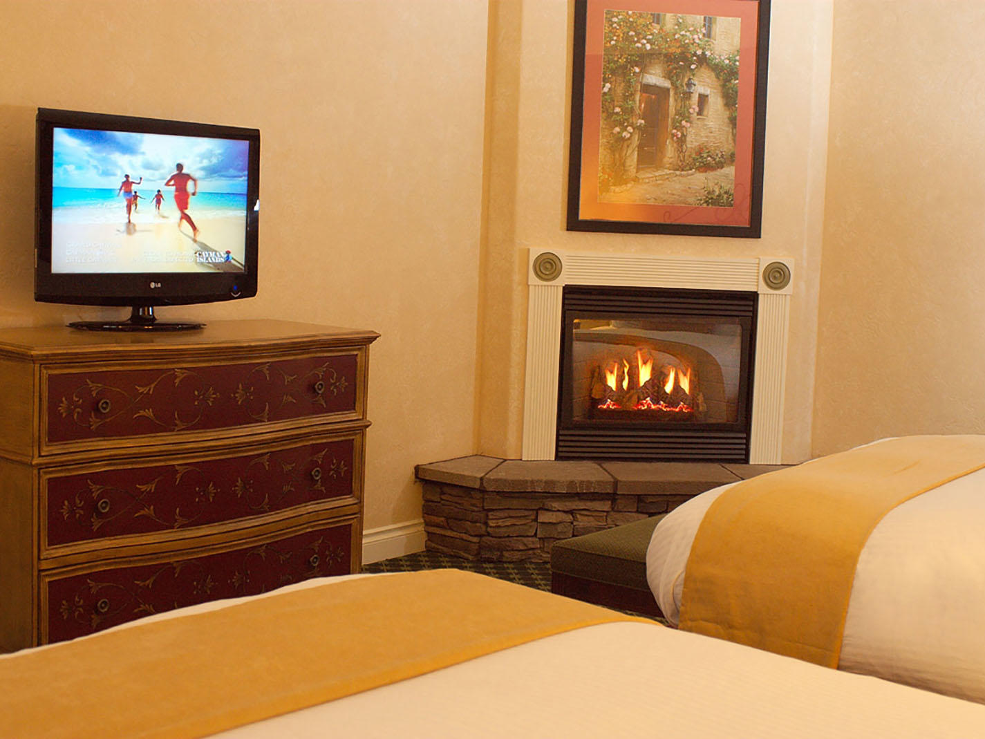 Guest room with TV and Fireplace