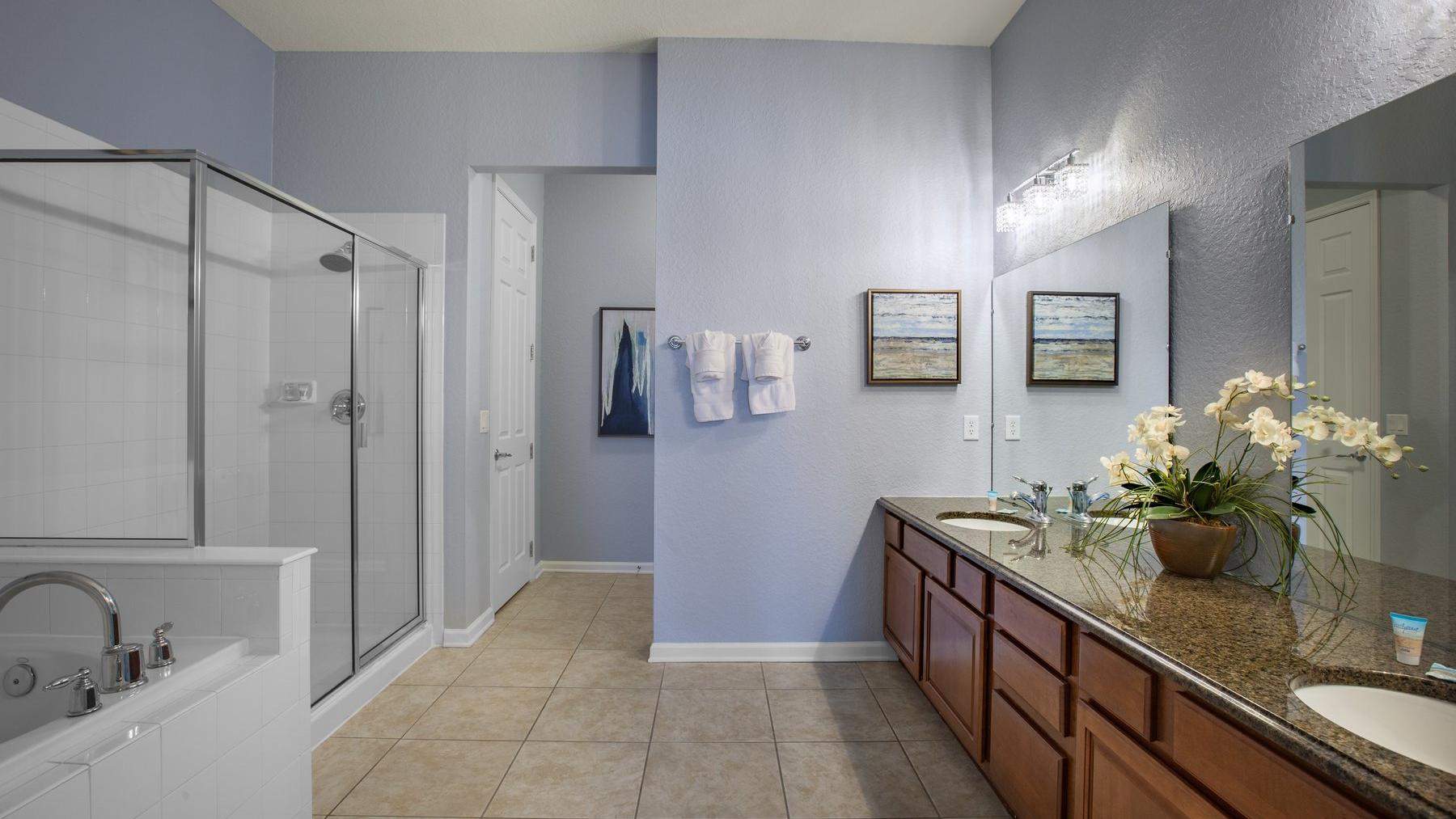 Double sink vanity and walk in shower