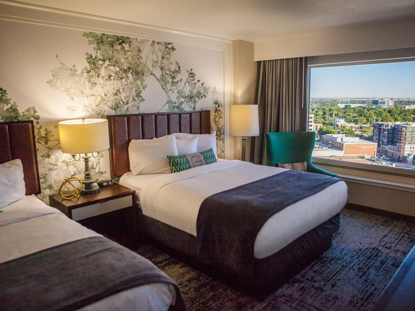 two queen bed with an view of downtown Boise