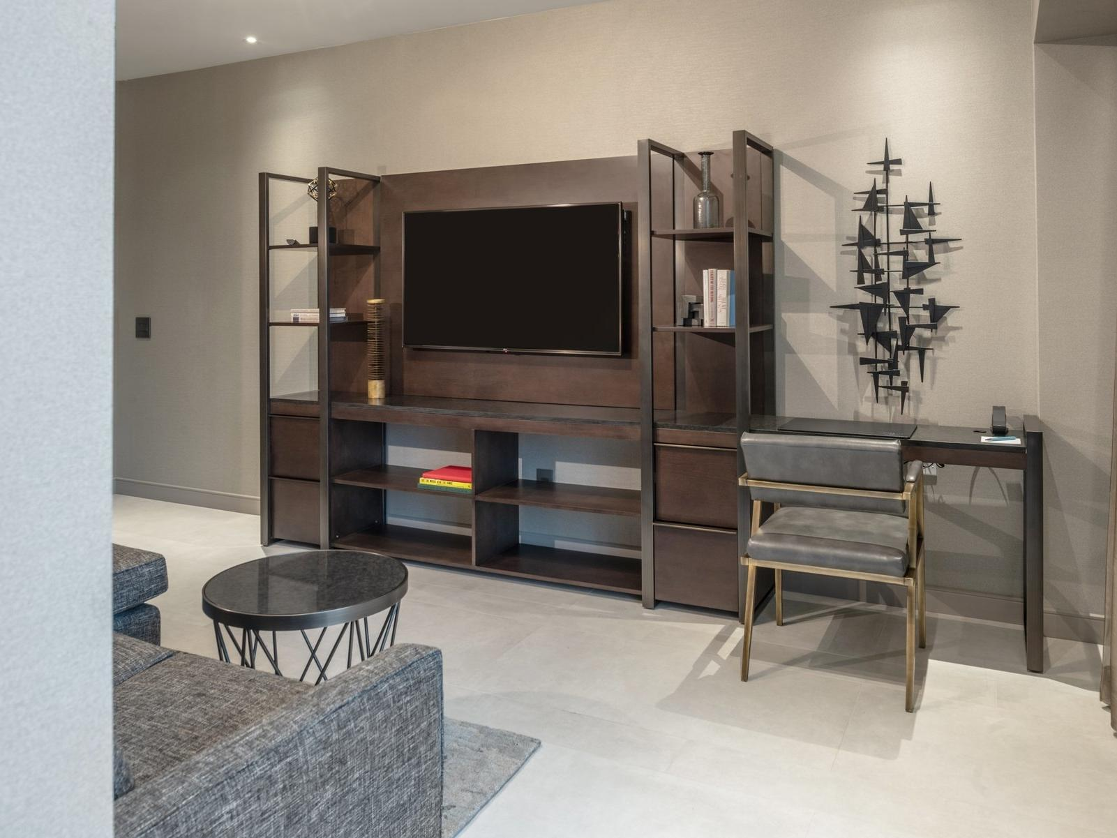 TV unit and desk with chair