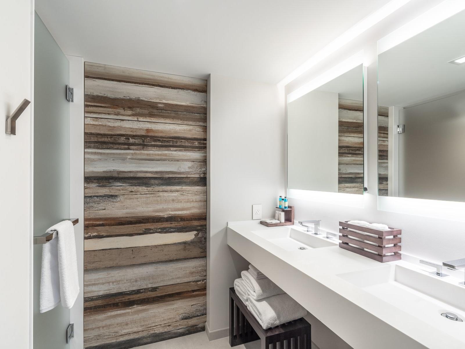 Guest bathroom with double sink vanity