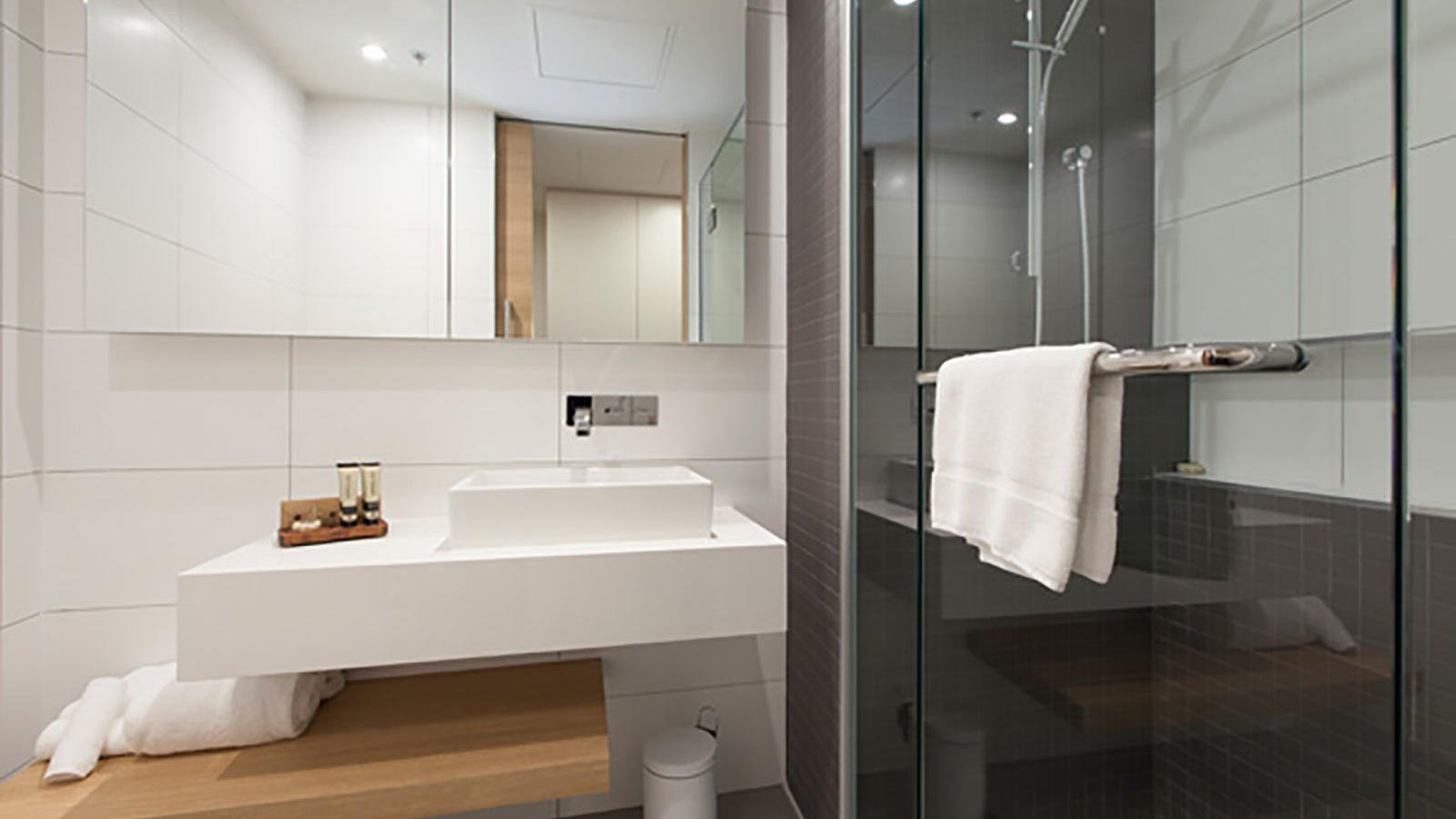 Bathroom of Elizabeth Street Balcony Room at Jasper Hotel