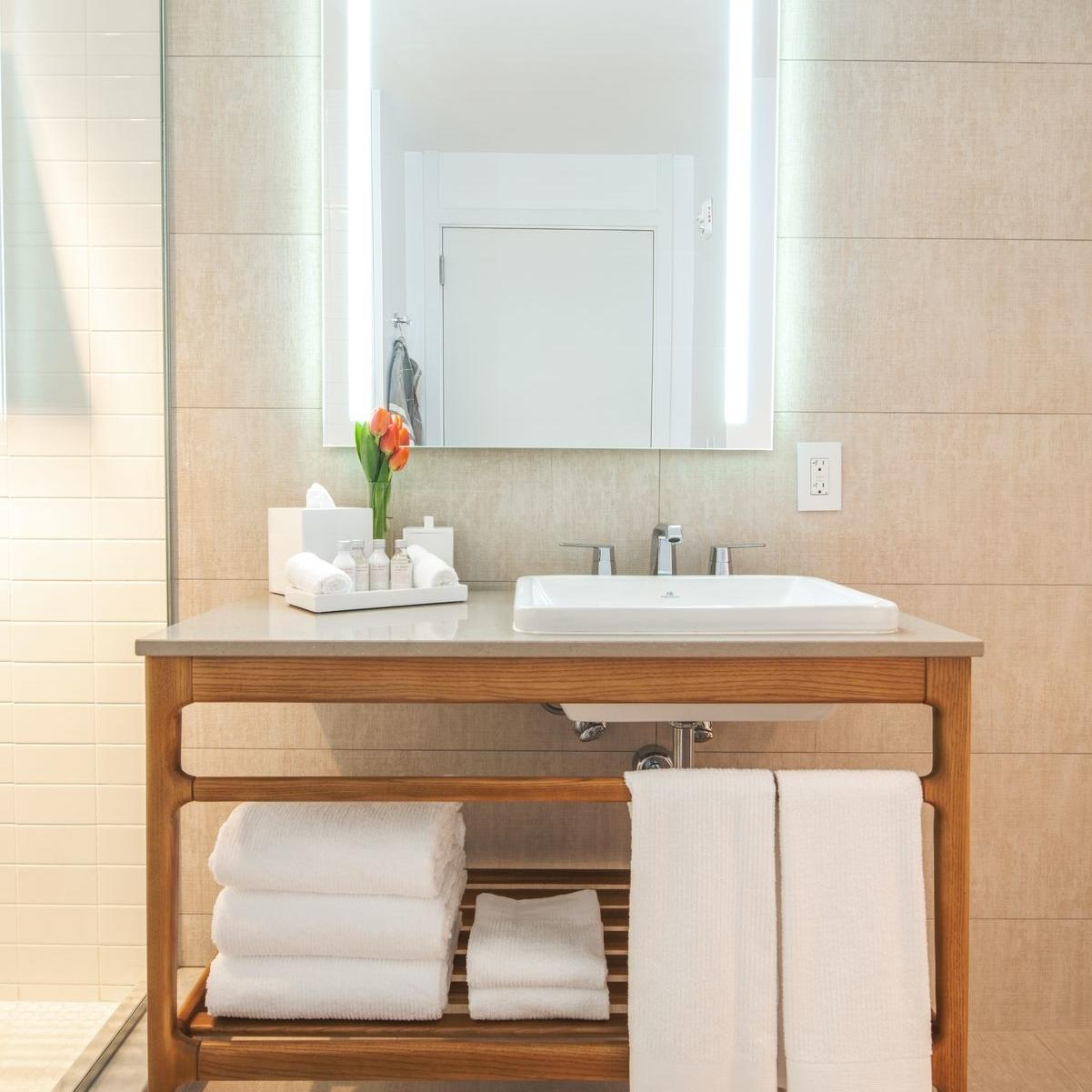 optimized vanity rd. mirror with walk in shower