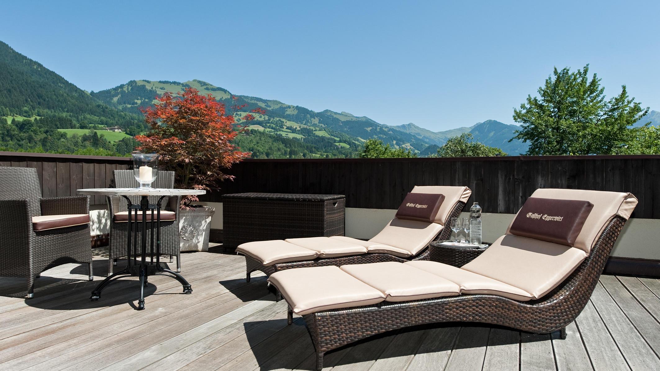 Junior Suite Terrace at Gasthof Eggerwirt Hotel in Kitzbühel, Austria