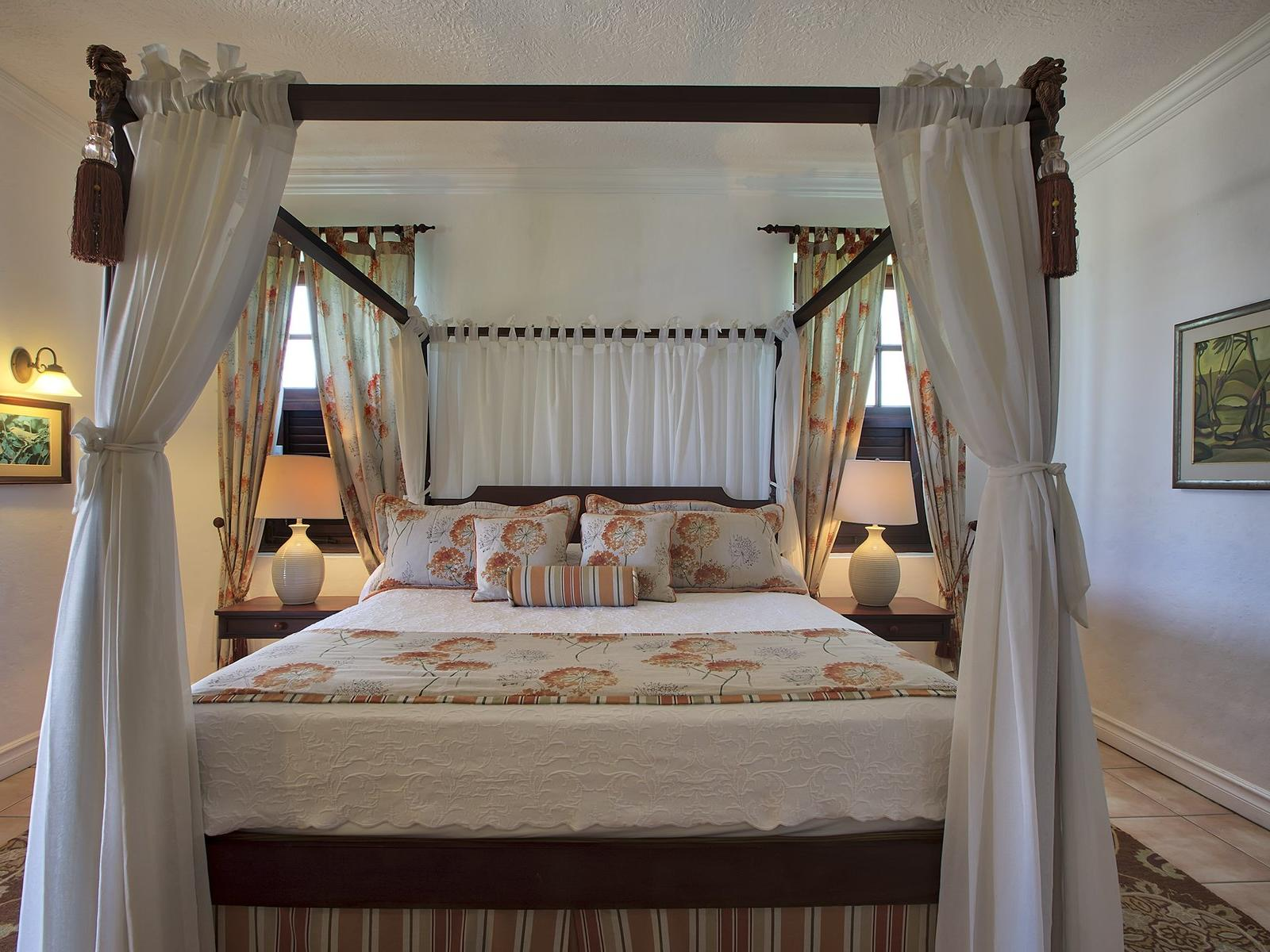 bed in villa with french colonial style