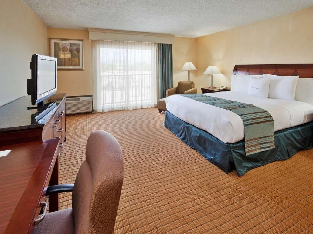 Hotel room with queen-sized bed