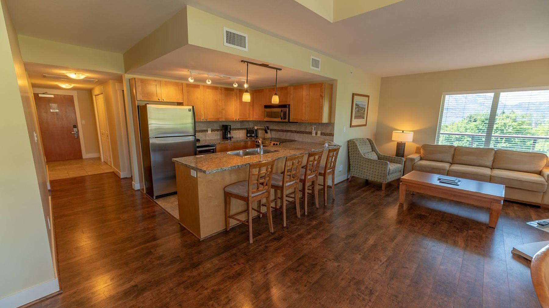Three Bedroom suite mountain view living room kitchen dining