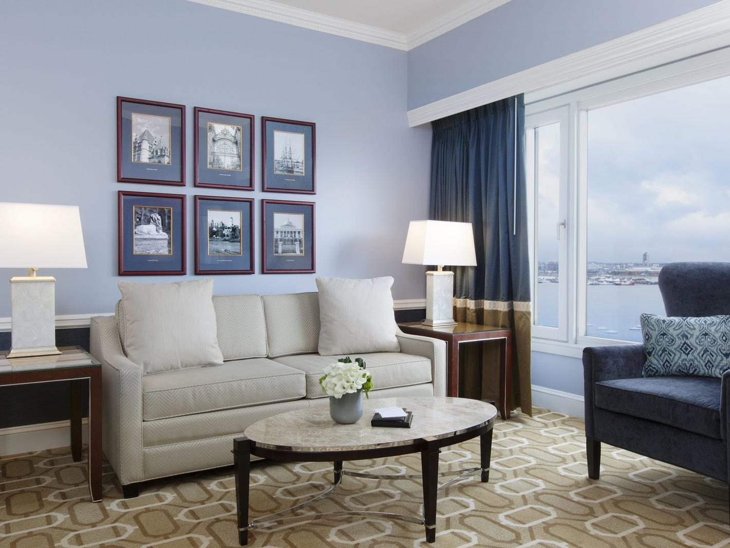 Suite living room with harbor view