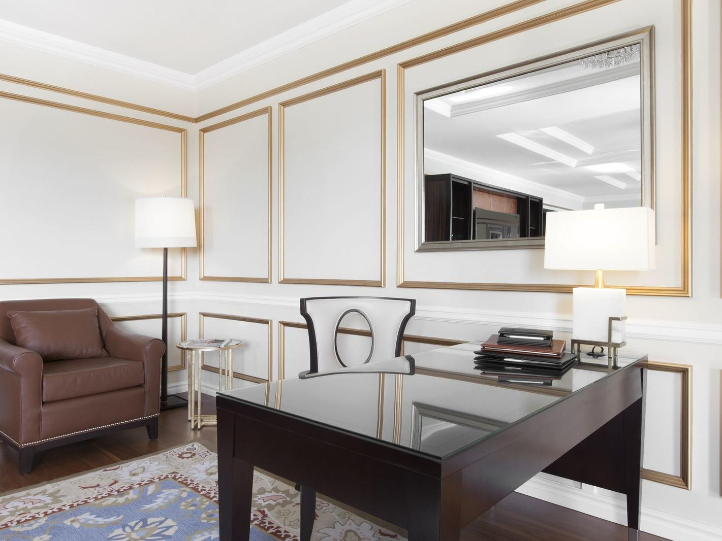 Desk and chair in presidential suite