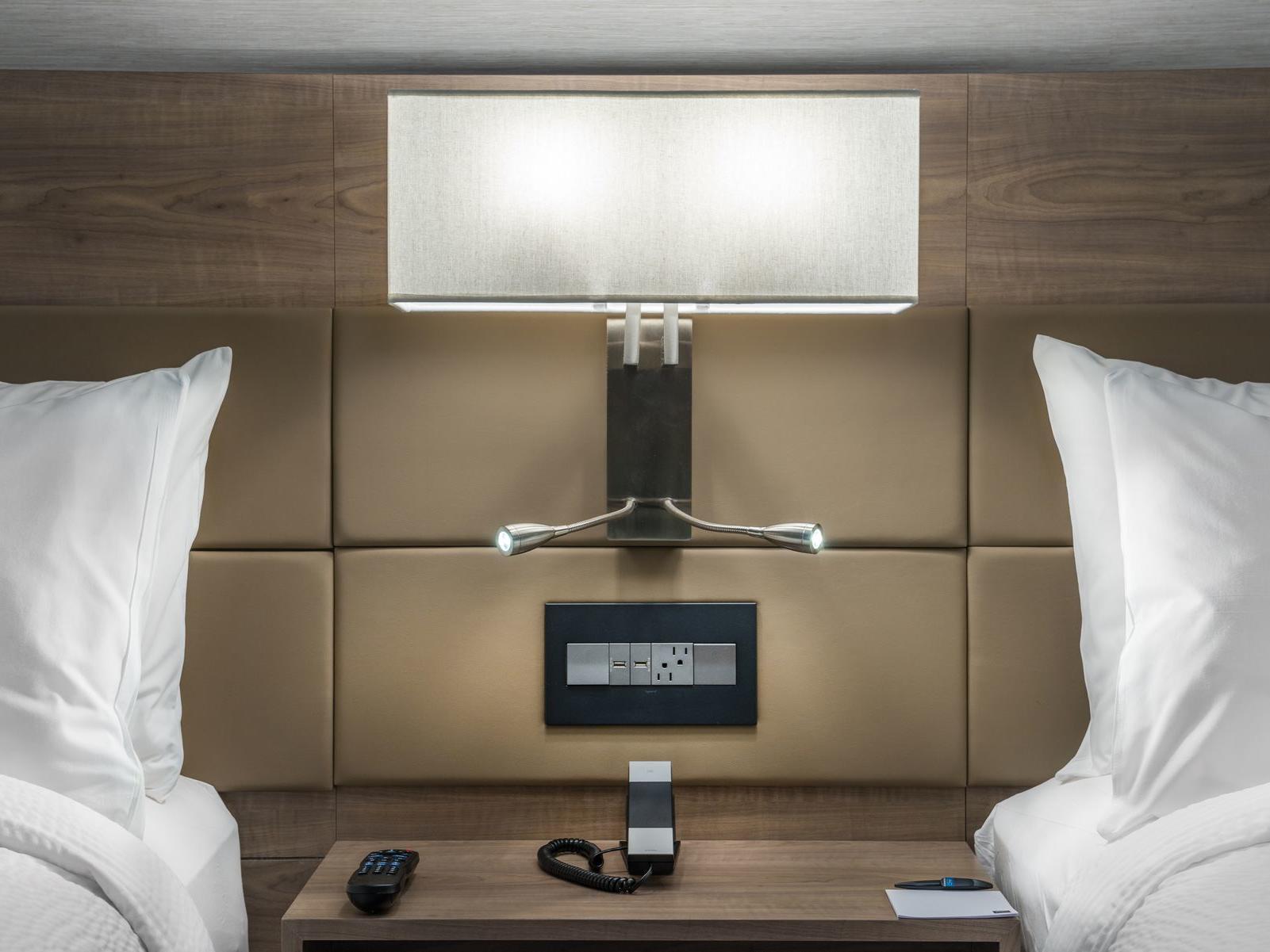 Nightstand between two beds