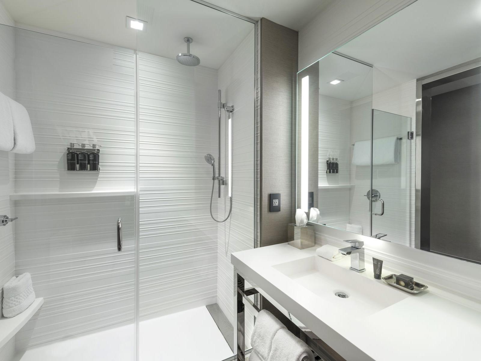 Bathroom vanity and walk in shower