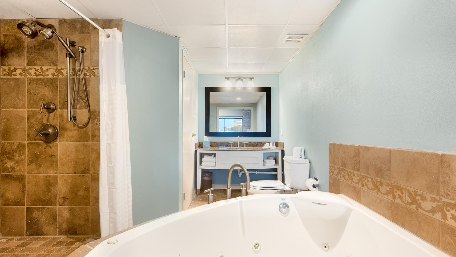 Jacuzzi tub and walk in shower