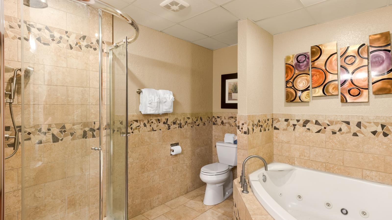 Bathroom with Jacuzzi tub and walk in shower