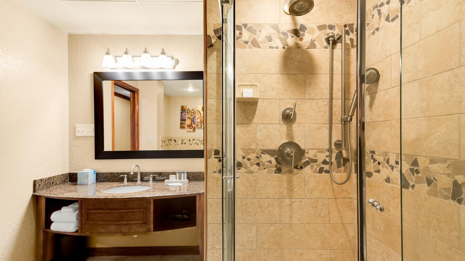 Walk in shower and bathroom vanity