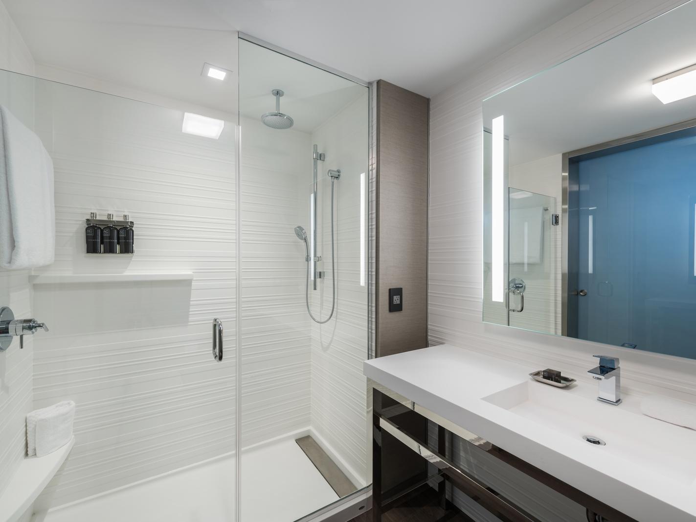 Vanity and walk in shower