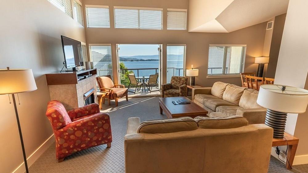 three bedroom suite lake view living room