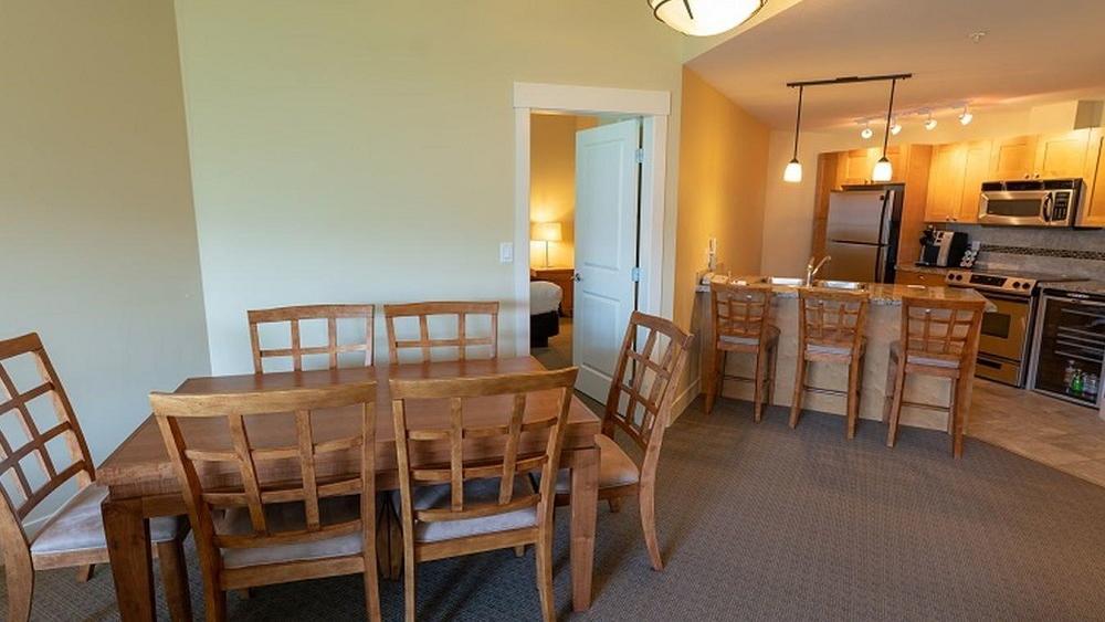 two bedroom suite living room kitchen