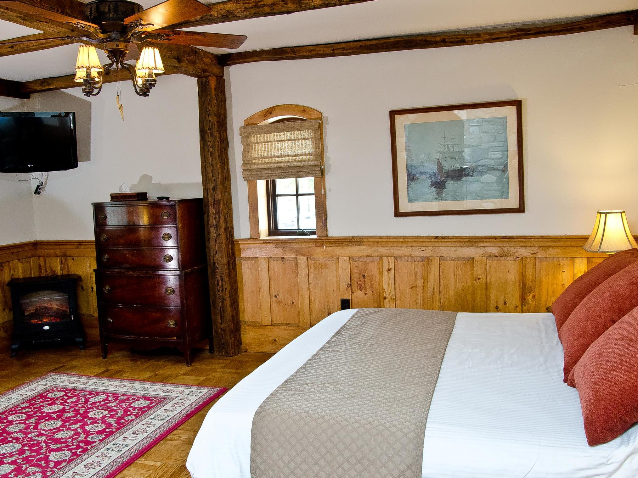 bedroom with wooden décor