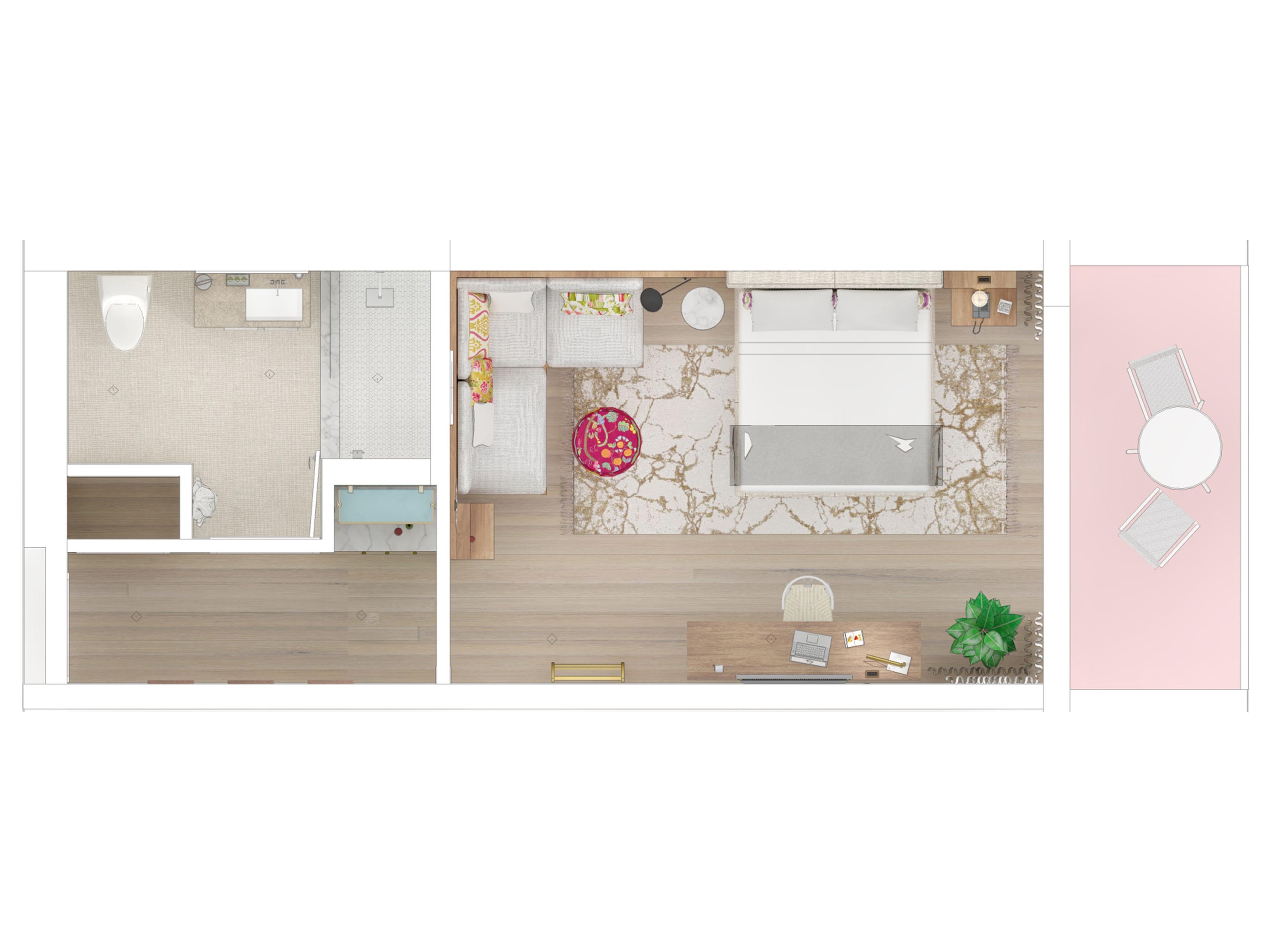 floor plan of one bedroom, bathroom and balcony