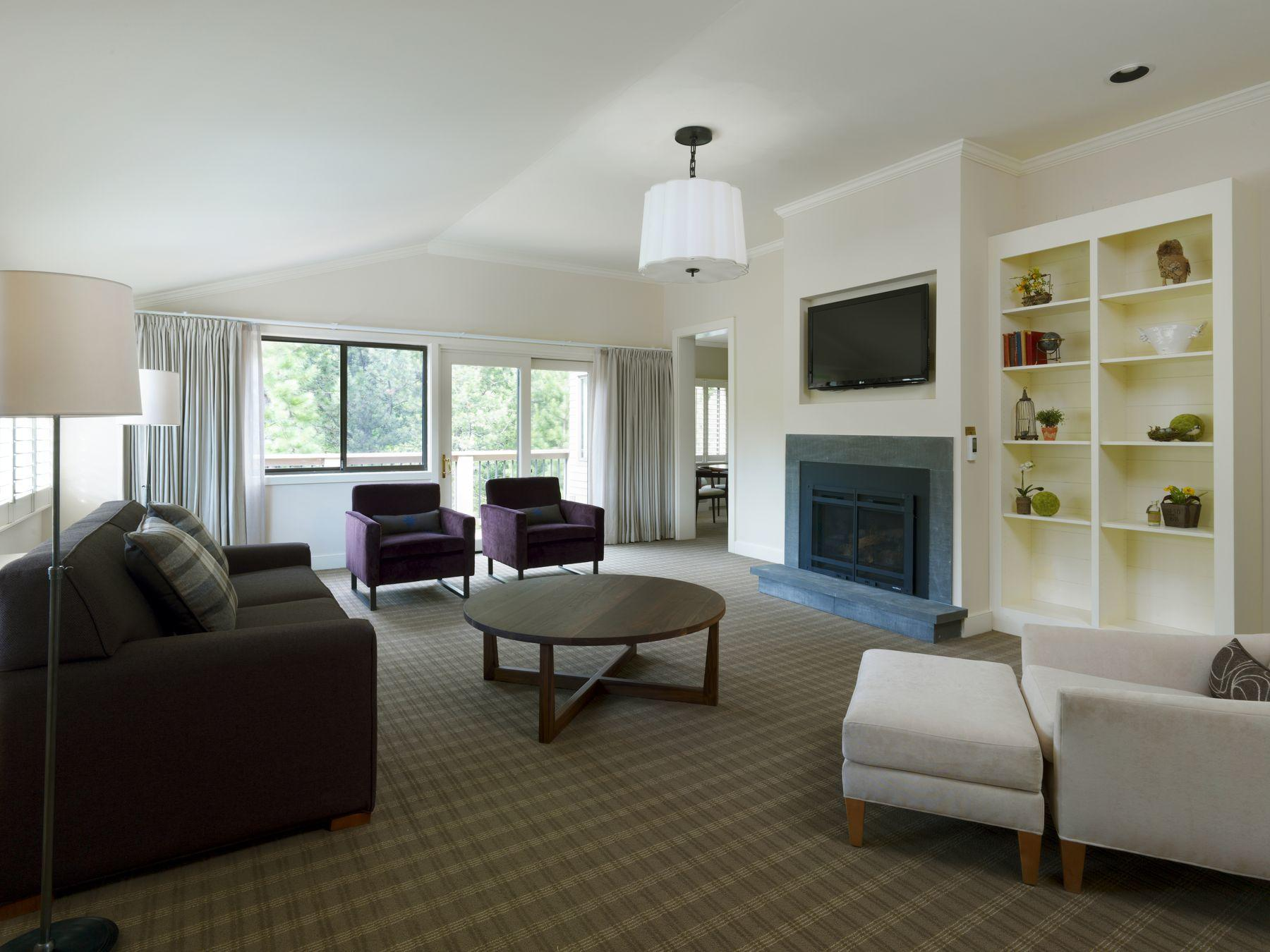 Broad living space of hotel suite
