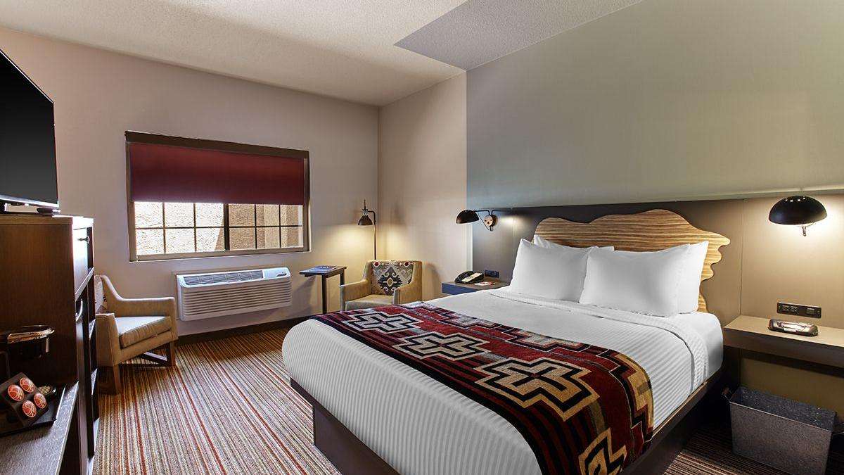 Accessible hotel room with king bed.