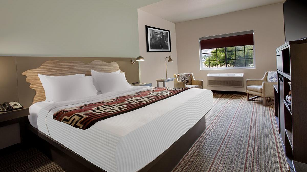 Hotel room with king bed.