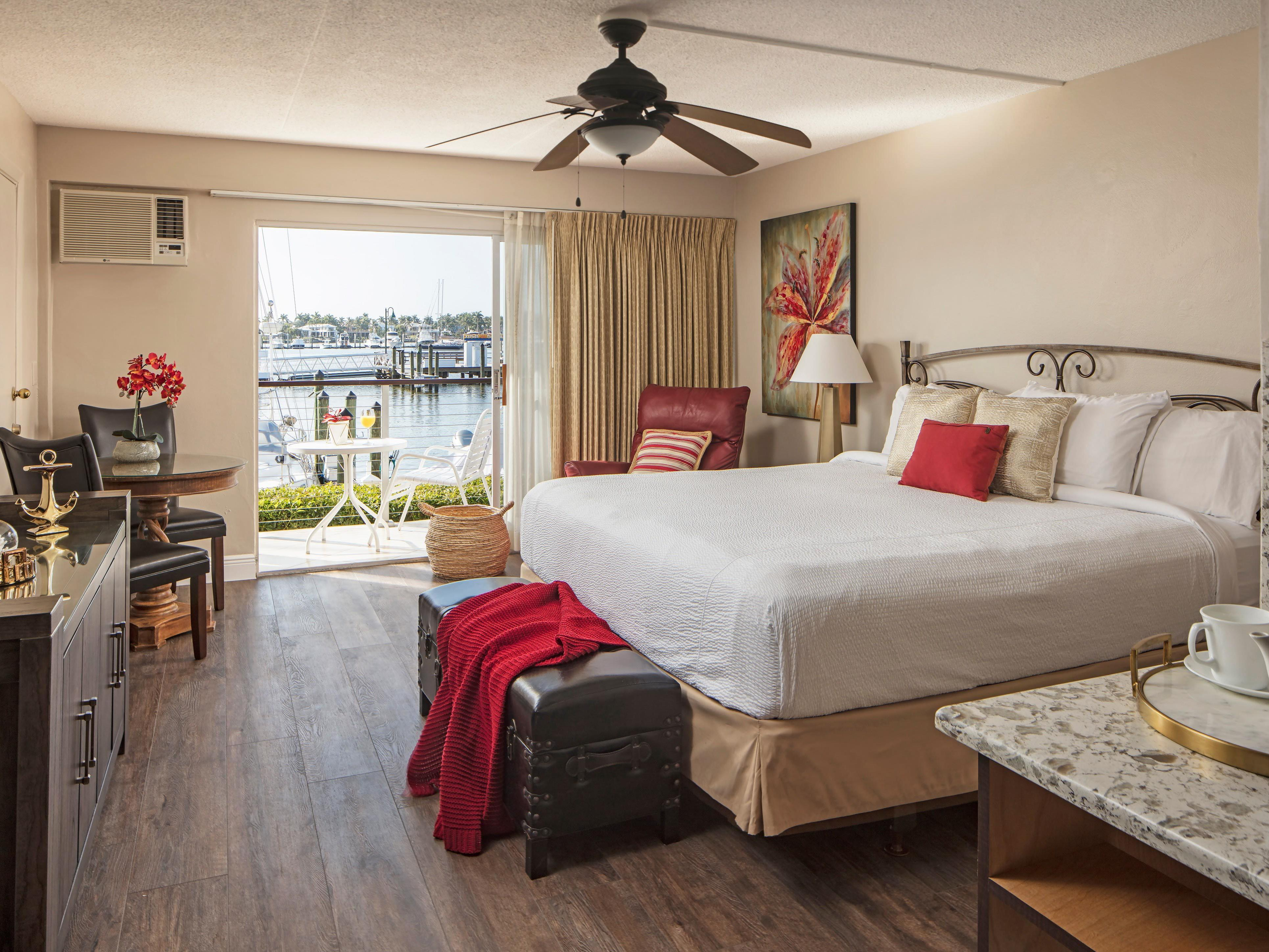 King bed guest room with harbor views.