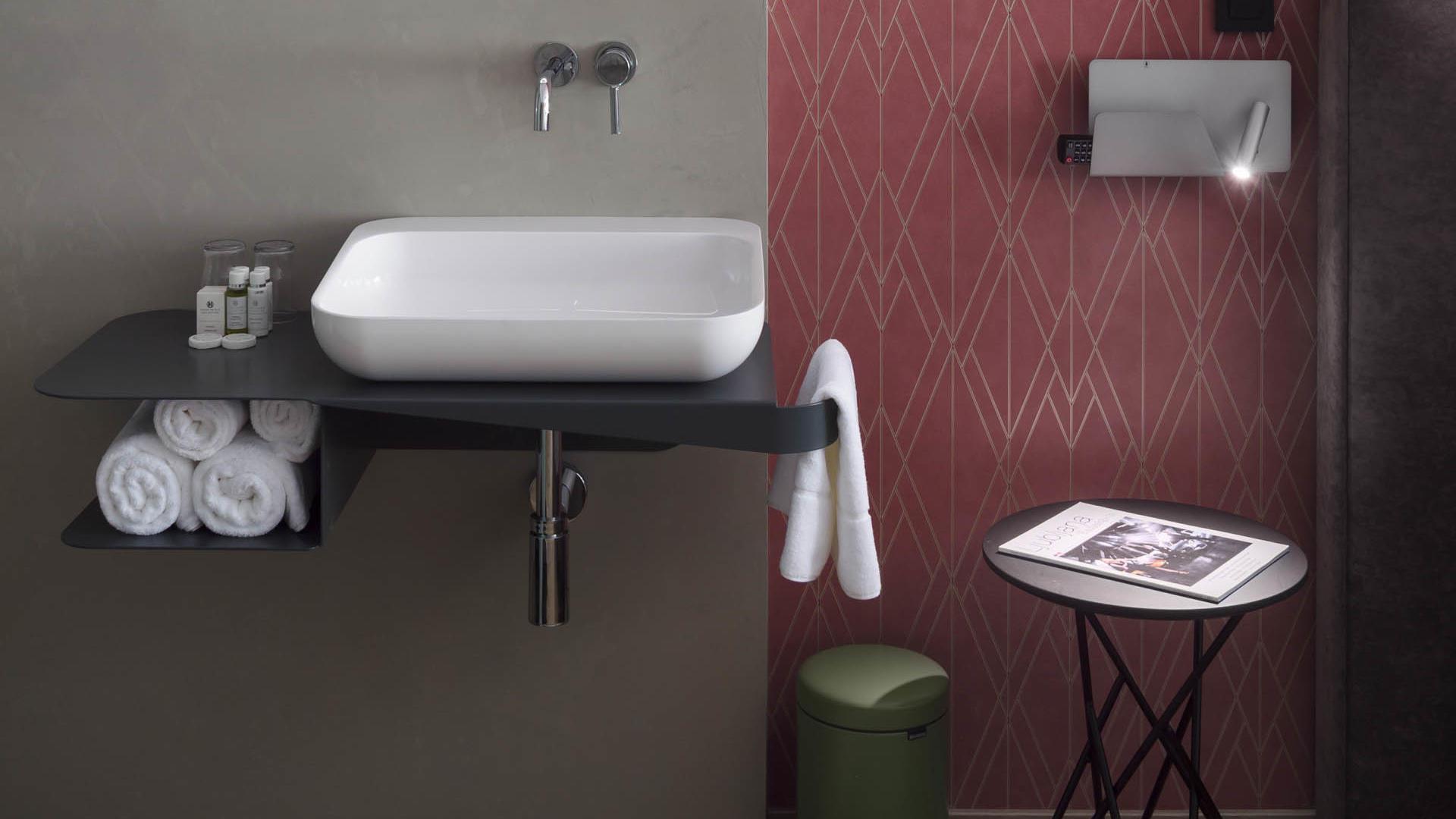 Spacious Double Bathroom at Central Hotel in Ljubljana