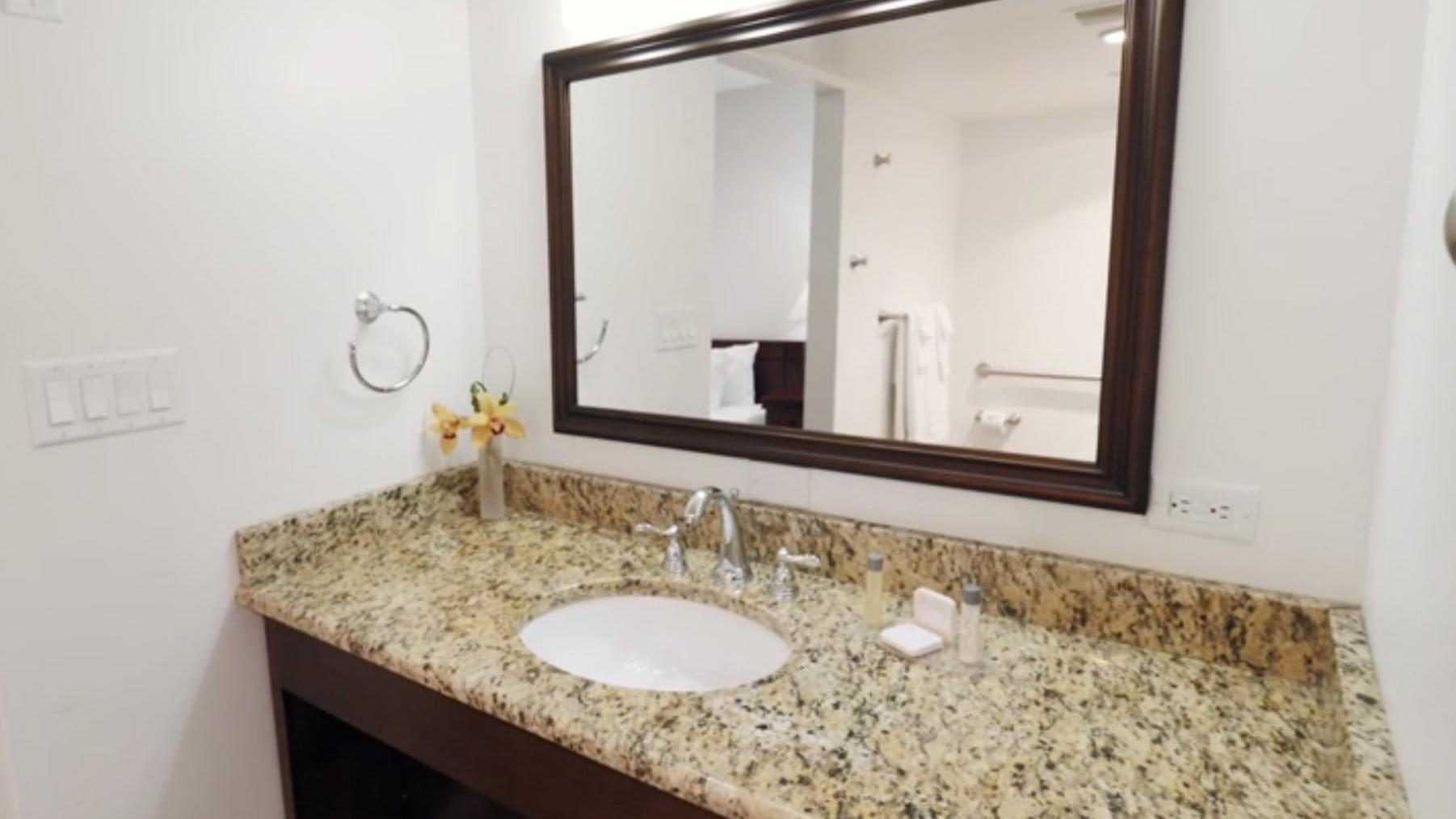Luxury Sedona hotel bathroom with granite countertops