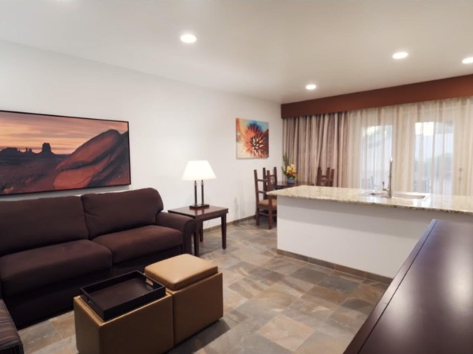 Spacious, renovated Sedona hotel living room with neutral colors
