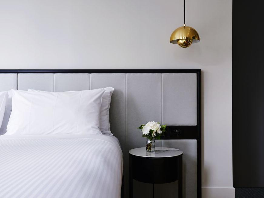 Bed detail at Brady Hotels Jones Lane