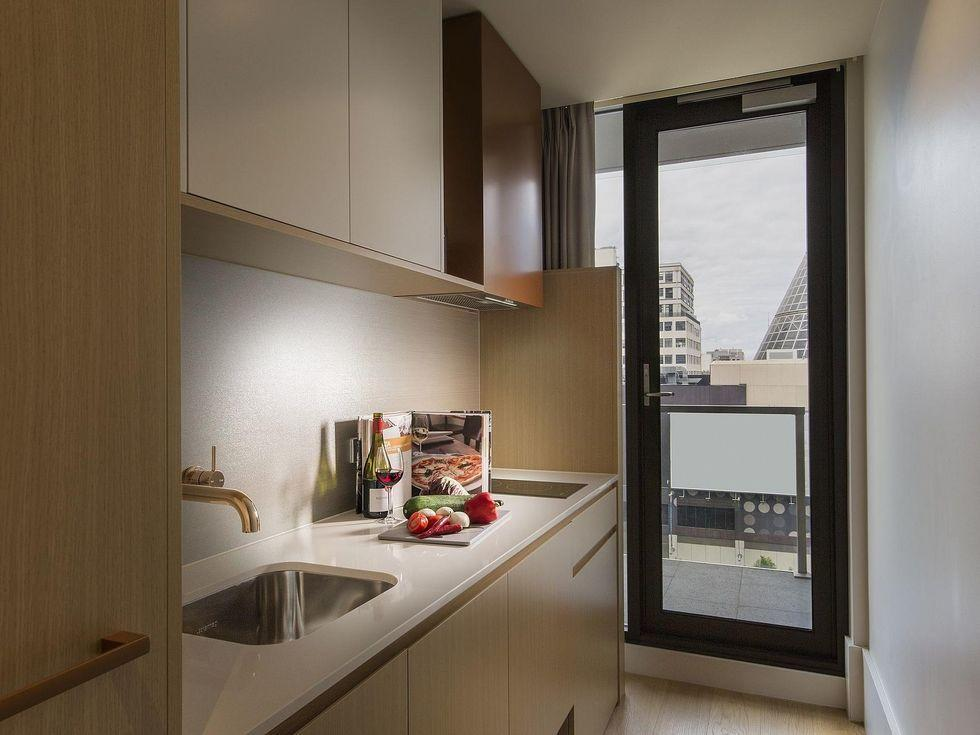 Studio kitchenette at Brady Hotels Central Melbourne