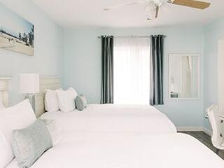 Oceanview hotel room with two Double beds