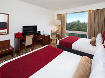 Deluxe Park View Twin Room with two double beds at Royal on the Park hotel