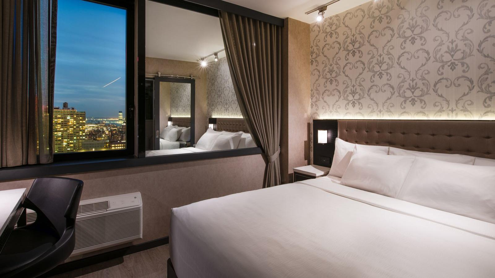 Deluxe hotel room with King bed.