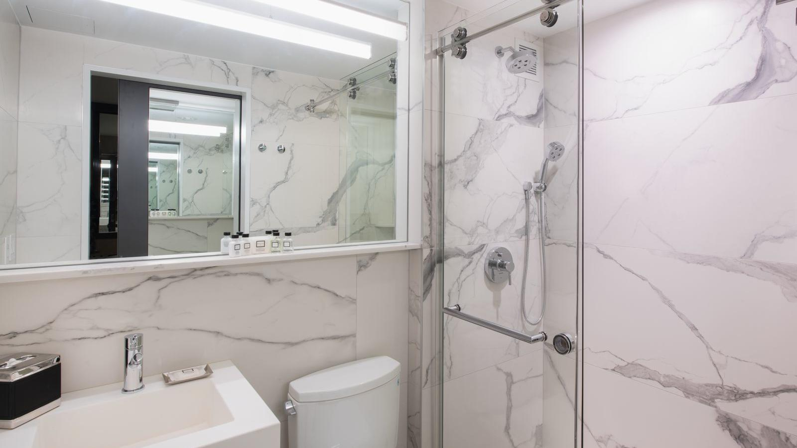 Hotel bathroom with standing shower.