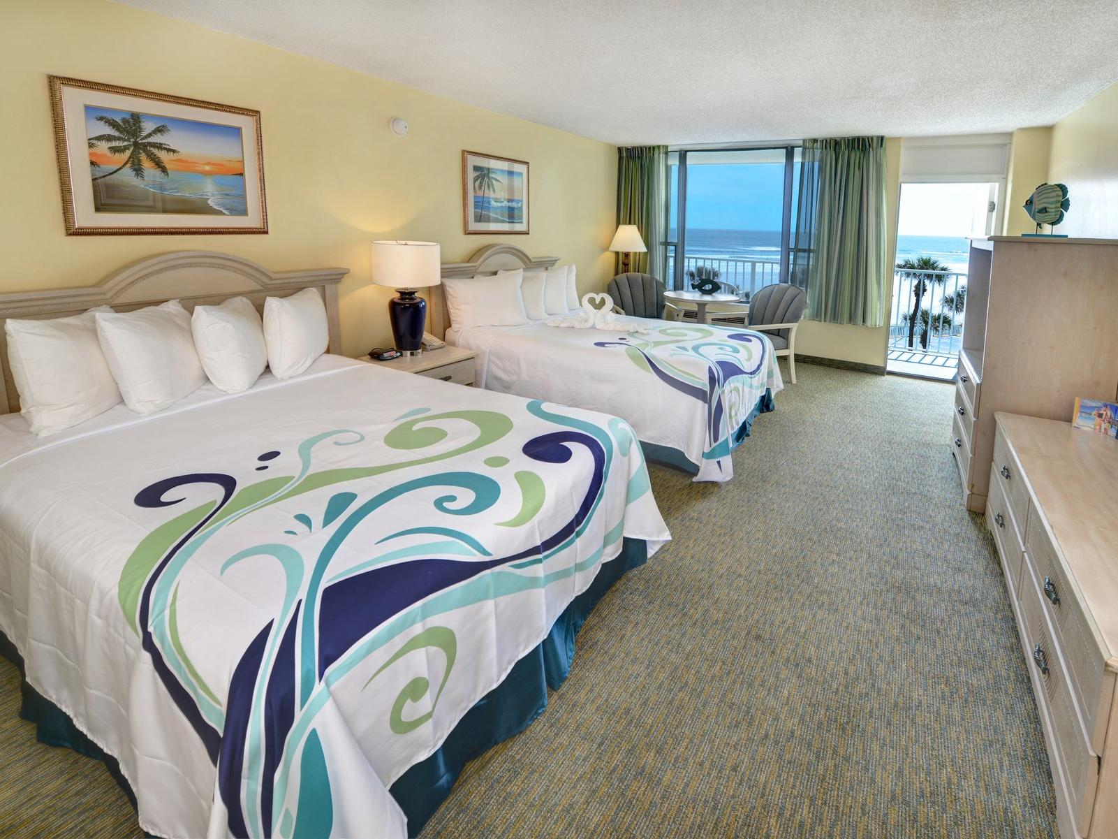 Hotel room with two Queen beds and ocean view.