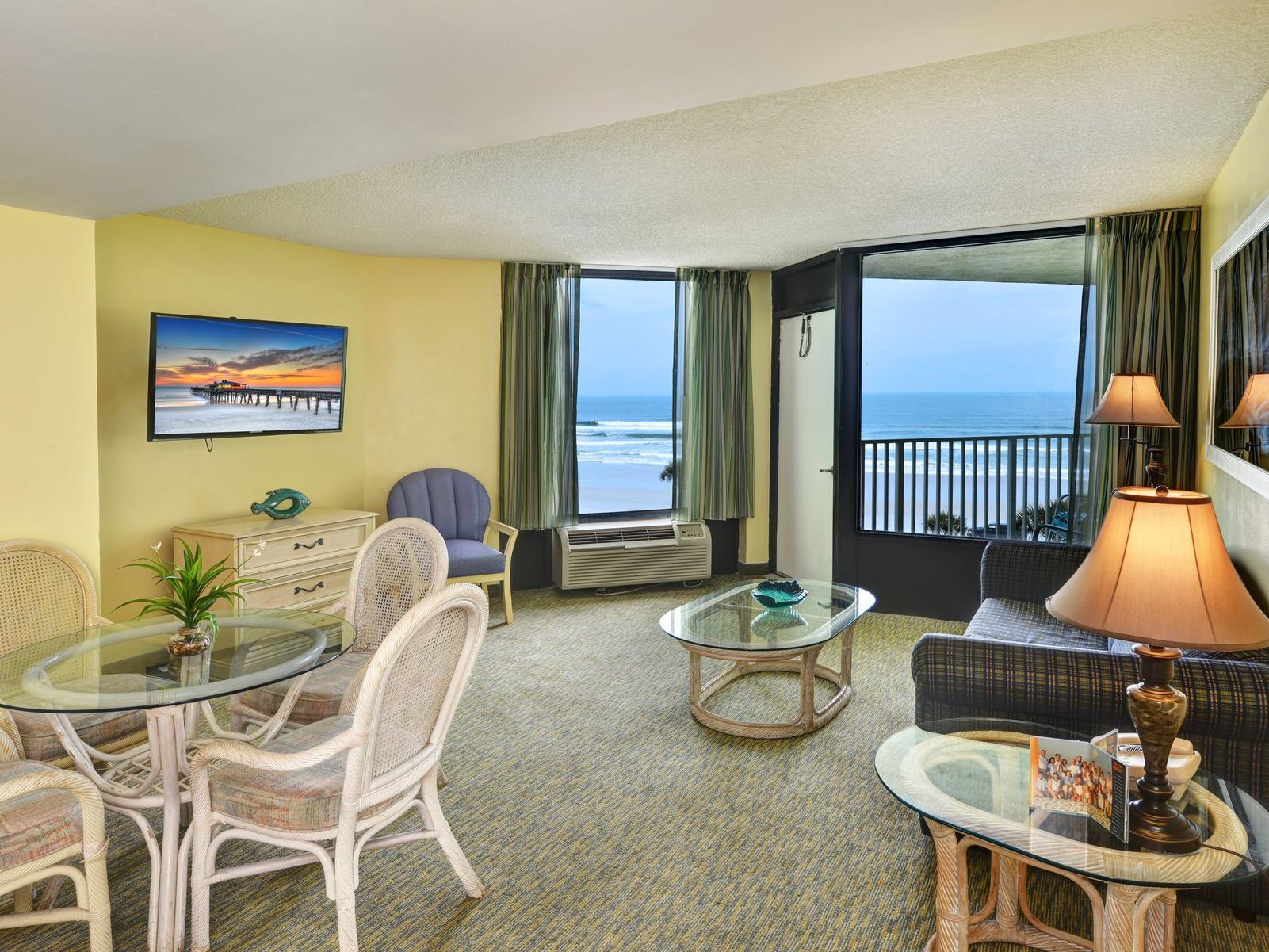 Oceanview hotel room.