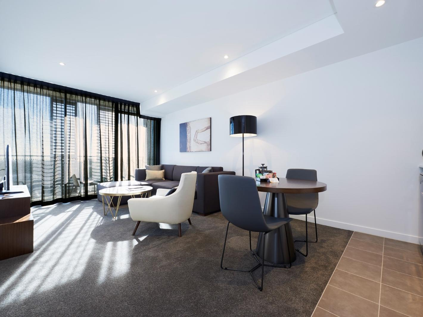 Living Room in Executive Studio Balcoy at Silkari Suites Chatswood