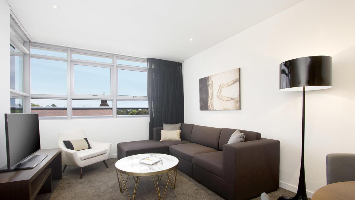 One Bedroom Living Room at Silkari Suites Chatswood