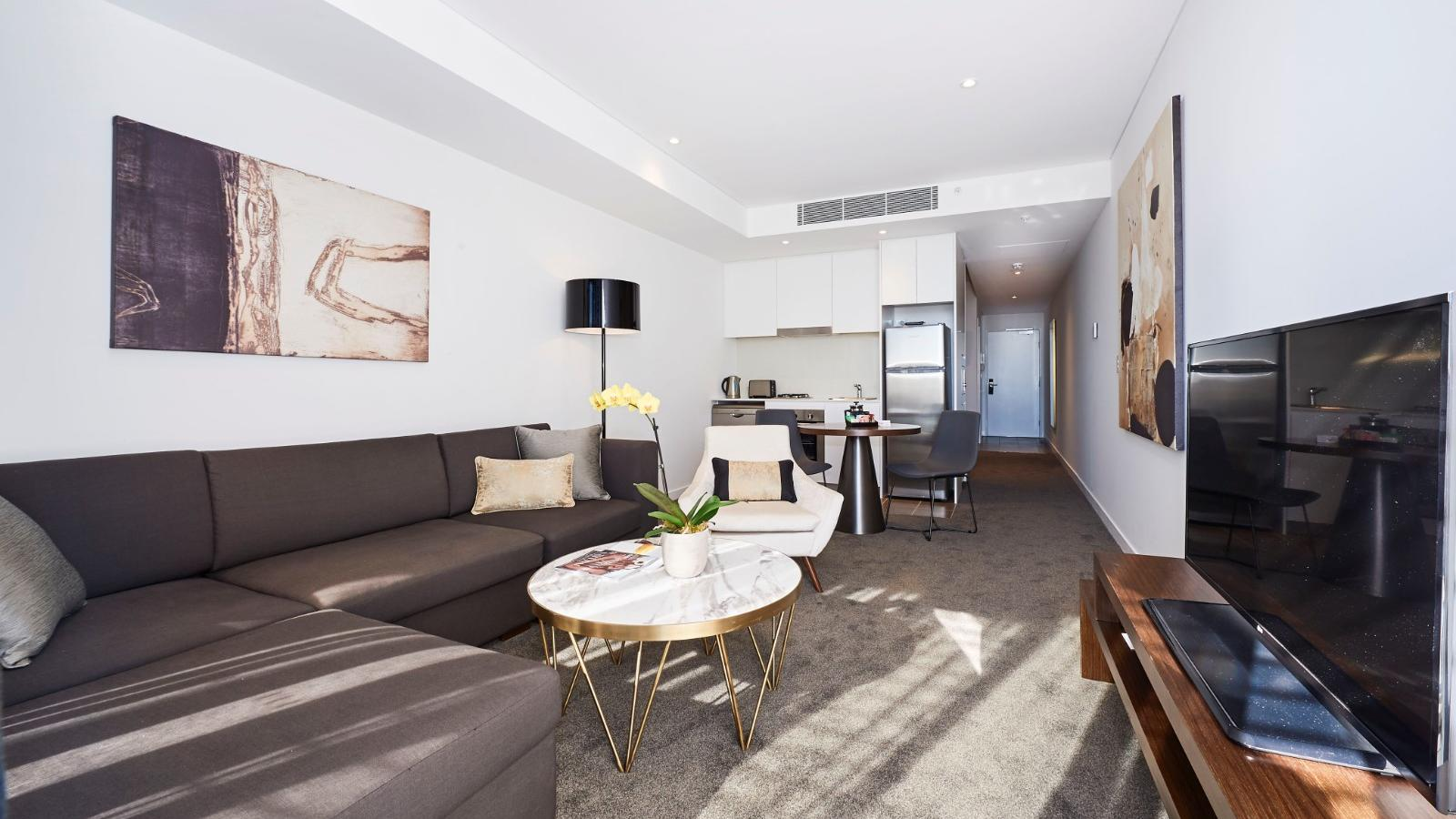 One Bedroom Suite Living Room at Silkari Suites Chatswood