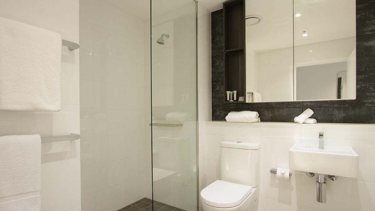 Studio Bathroom at Silkari Suites Chatswood