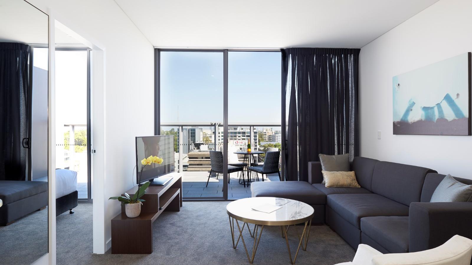 One Bedroom Terrace Living Room at Silkari Suites Chatswood
