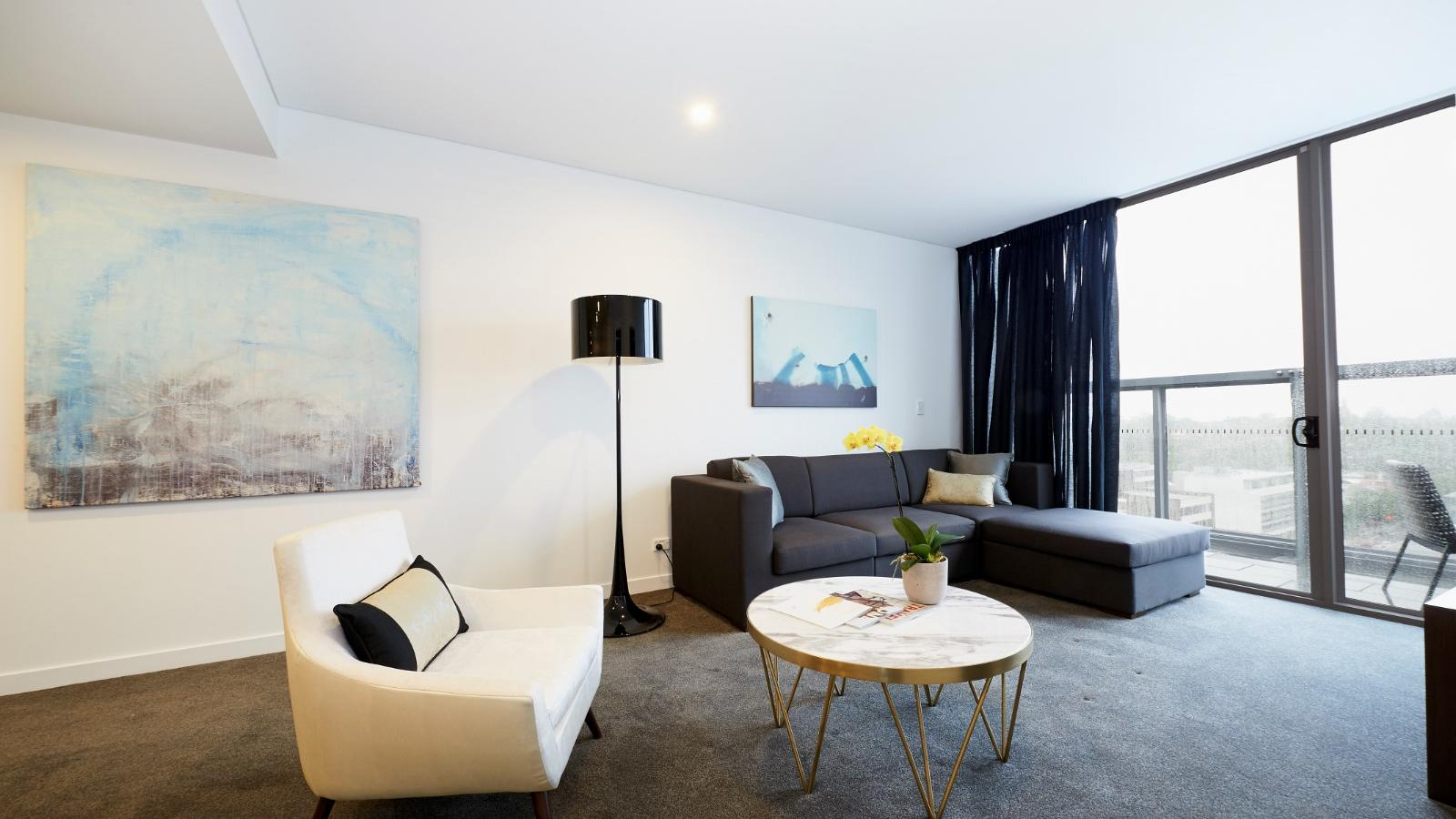 One Bedroom Executive Kitchen and Living Room at Silkari Suites Chatswood